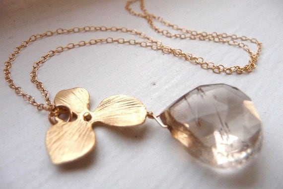 Golden Orchid Necklace