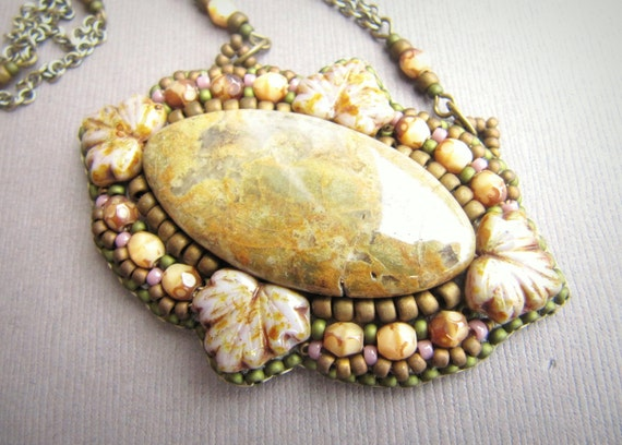 Victorian Frame Spring Lavender Pendant Bead Embroidery with Jasper, Seed Beads, and Brass Chain