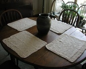 Set of 4 100% Cotton Placemats with Seed Stitch Border