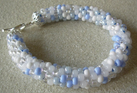 Winter Icicle Crochet Beaded Bangle