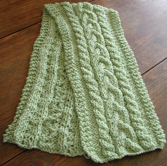 Bok Choy Green Cabled Wool Scarf