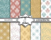 Digital Printable Paper for Cards, Crafts, Art and Scrapbooking Set of 10 - Lines and Swirls - Instant Download