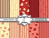 Digital Printable Paper for Cards, Crafts, Art and Scrapbooking Set of 10 - Valentines and Cream - Instant Download
