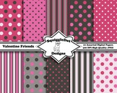 Digital Printable Paper for Cards, Crafts, Art and Scrapbooking Set of 10 - Valentine Friends - Instant Download