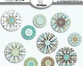 Digital Printable Clip Art Embellishments for Cards, Crafts, Scrapbooks Set of 10 - Ocean Spring Accordion Flowers - Instant Download