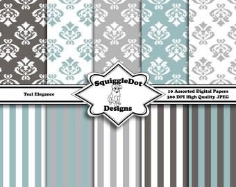 Digital Printable Paper for Cards, Crafts, Art and Scrapbooking Set of 10 - Teal Elegance - Instant Download