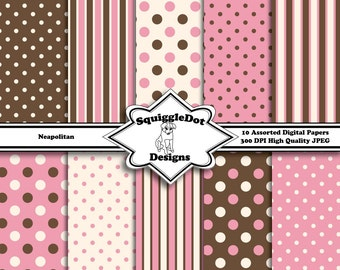 Digital Printable Paper for Cards, Crafts, Art and Scrapbooking Set of 10 - Neapolitan - Instant Download