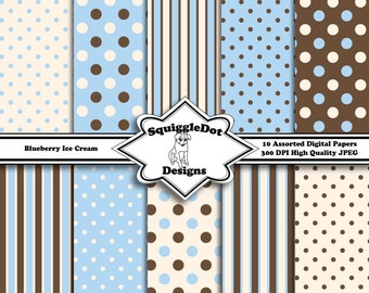 Digital Printable Paper for Cards, Crafts, Art and Scrapbooking Set of 10 - Blueberry Ice Cream - Instant Download