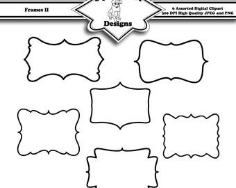 Printable Frame Clip Art for Digital Scrapbooking Embellishments for Cards and Crafts Set of 6 - Frames II - Instant Download
