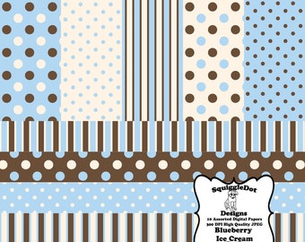 Digital Printable Scrapbook Paper for Cards, Crafts, and Art  Set of 10 - Blueberry Ice Cream - Instant Download
