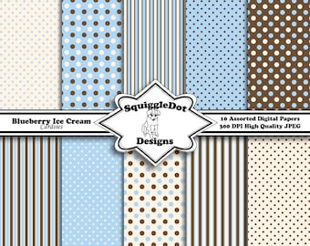 Digital Scrapbook Paper for Cards, Small Crafts, Invitations and Mini Albums Set of 10 - Blueberry Ice Cream Cardsies - Instant Download