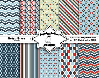 Digital Paper Specially Designed for Cards, Small Crafts, Art and Mini Scrapbook Albums Set of 10 - Retro Stars Cardsies - Instant Download