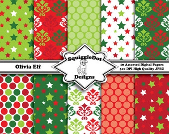 Digital Printable Christmas Paper Paper for Cards, Crafts, Art and Scrapbooking Set of 10 - Olivia Elf - Instant Download