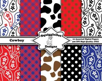 Digital Printable Paper for Cards, Crafts, Art and Scrapbooking Set of 10 - Cowboy - Instant Download