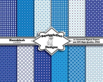Digital Printable Paper Designed for Cards, Small Crafts, Art and Scrapbooking Mini Albums Set of 12 - Hanukkah Cardsies - Instant Download