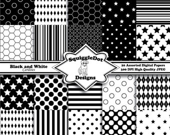 Digital Printable Scrapbooking Paper for Cards, Crafts, Invitations and Mini Albums Set of 20 - Black and White Cardsies - Instant Download