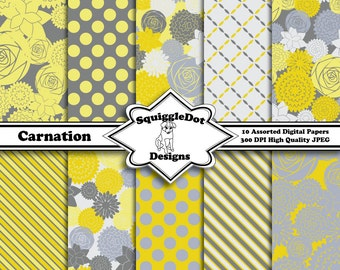 Digital Paper Printable for Cards, Crafts, Art and Scrapbooking Set of 10 - Carnation - Instant Download