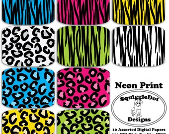 Digital Scrapbook Paper for Cards, Crafts, Baby Showers and Art  Set of 10 - Neon Print - Instant Download