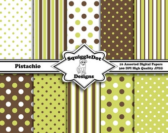 Digital Printable Paper for Cards, Crafts, Art and Scrapbooking Set of 10 - Pistachio - Instant Download