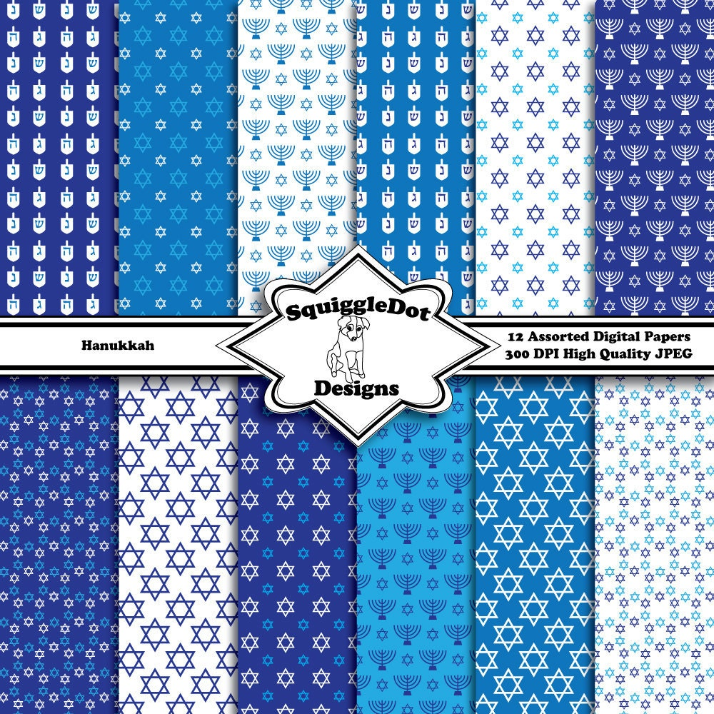 Digital printable paper for cards crafts art and scrapbooking digital printable paper for cards crafts art and scrapbooking set of 12 hanukkah instant download jeuxipadfo Images