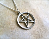 tiny dark pentagram star charm necklace with silver chain