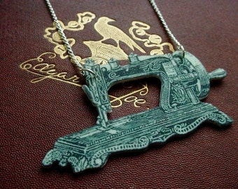 vintage sewing maching necklace