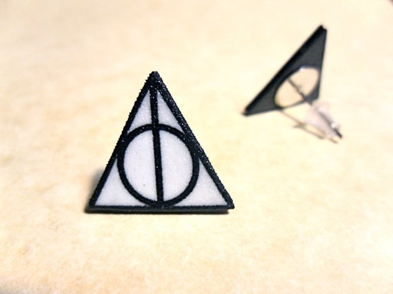 Deathly Hallows Triangle Circle Symbol Stud Post By