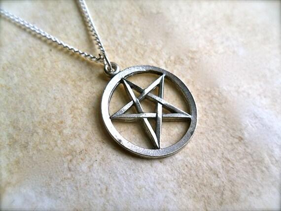 tiny dark pentagram star charm necklace with silver chain