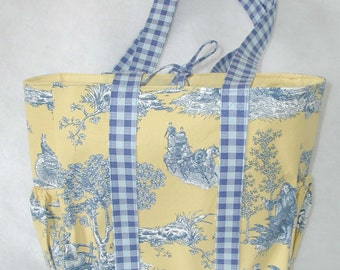 Blue and Gold Toile Diaper Bag