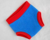 Extra Large Super Hero (Anti-Pill) Fleece Diaper Cover/Soaker in Blue and Red, Ready to Ship