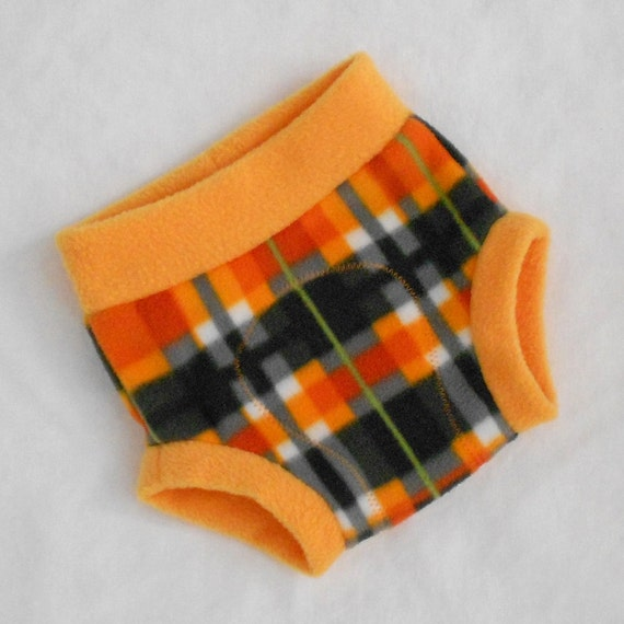 Medium Anti-Pill Soaker Pumpkin Patch Plaid Fleece Diaper Cover in Orange, Gray, and White, Ready to Ship for Halloween