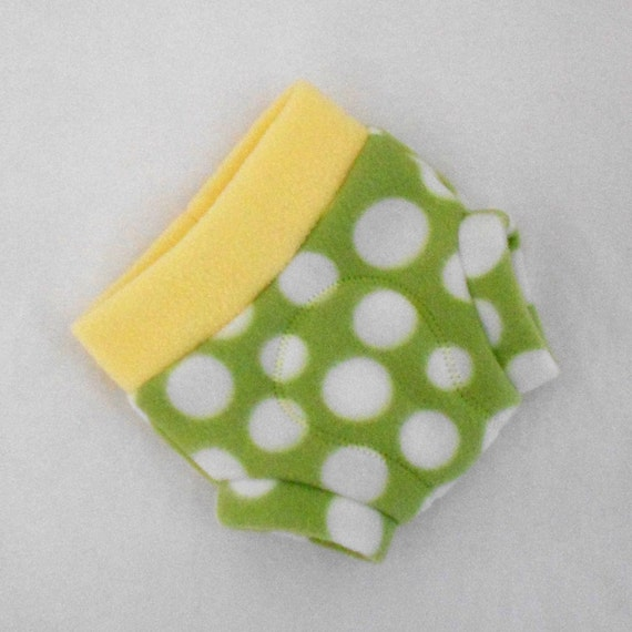 Small Soaker Polka Dot Fleece Fitted Diaper Cover in Green, Yellow, White Polka Dot, Ready to Ship for Spring, Photo Prop