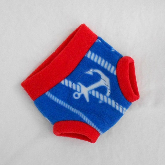 Small Soaker Fleece Diaper Cover, Anchors Ahoy, in Blue Red White Rope, Ready to Ship/Set Sail 4th of July Memorial Day
