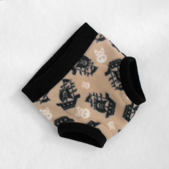 Extra Large Fleece Soaker/ Fleece Cloth Diaper Cover, Pirate Ghost Ship and Skulls, Black White Sand Beige, Ready to Ship