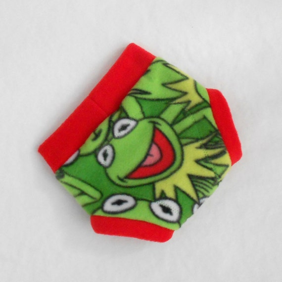 Medium Kermit the Frog Muppets Fleece Diaper Soaker Diaper Cover, Kermit Green and Rocket Red, Ready to Ship