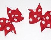 Red Polkadot Mini Pigtail Bows