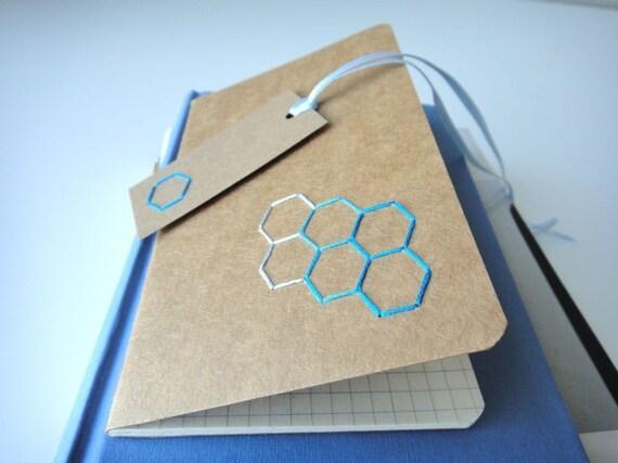 Small/mini notebook - Hexagon hand embroidered moleskine (grid) and mini bookmark