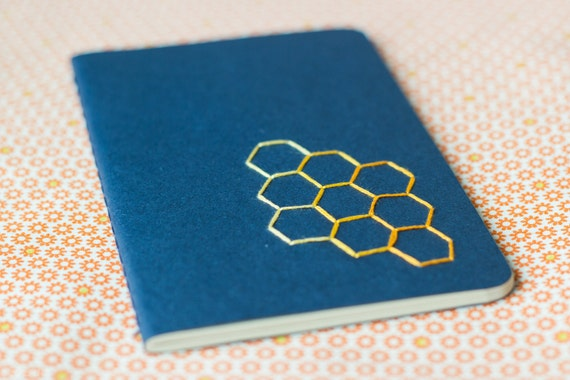 Small notebook - Hexagon hand embroidered moleskine (plain) and mini bookmark