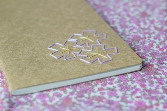 SALE - Cherry blossom notebook - Sakura hand embroidered moleskine (lined) and mini bookmark