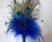 Royal Sapphire Cobalt Blue Victoriana Peacock Feather & Crystal Burlesque Steampunk Vintage Wedding Fascinator Hair Comb -  Made To Order