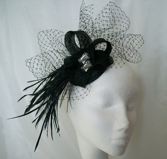 Black Feather Veil & Smoky Grey Crystal Sinamay Fascinator Mini Hat Headpiece Ideal for a Wedding Halloween Races