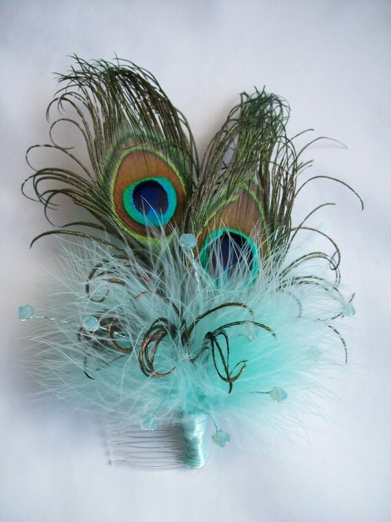 Aquamarine Aqua Peacock Feather & Crystal Burlesque Vintage Wedding Fascinator Hair Comb - Made to Order
