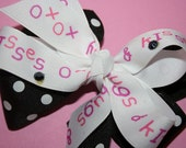 OXOX Valentines Day Bow Black and Pink