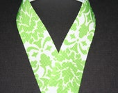 7/8 Green and White Damask Ribbon 5 yards