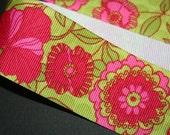 Pink and Green Floral Ribbon 4 yards