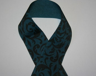 Blue & Black Damask Ribbon 1.5 inch 3 yrds DISCONTINUED