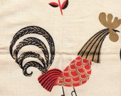 Vintage fifties Linen Napkins Red Black Gold on Cream Roosters Set of Four
