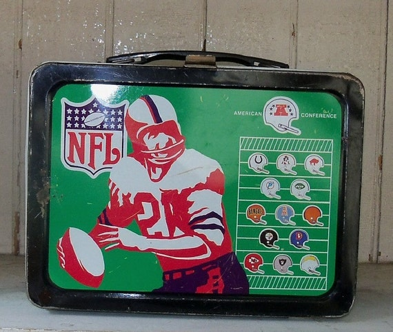 Vintage Football Metal Lunch Box NFL American Conference