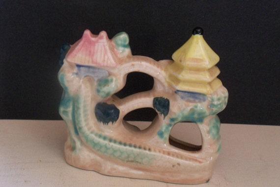 Vintage fish bowl aquarium item Oriental chinese castle