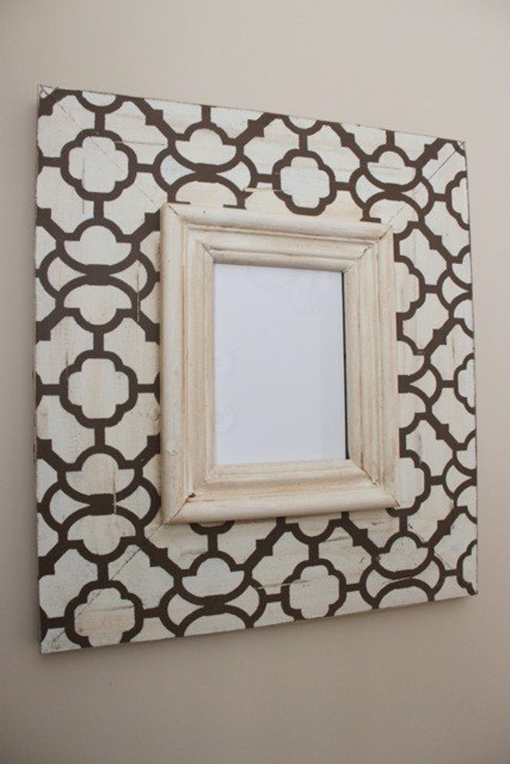 Moroccan Wood Distressed Picture Frame 5x7 Hand painted, Chocolate and Cream